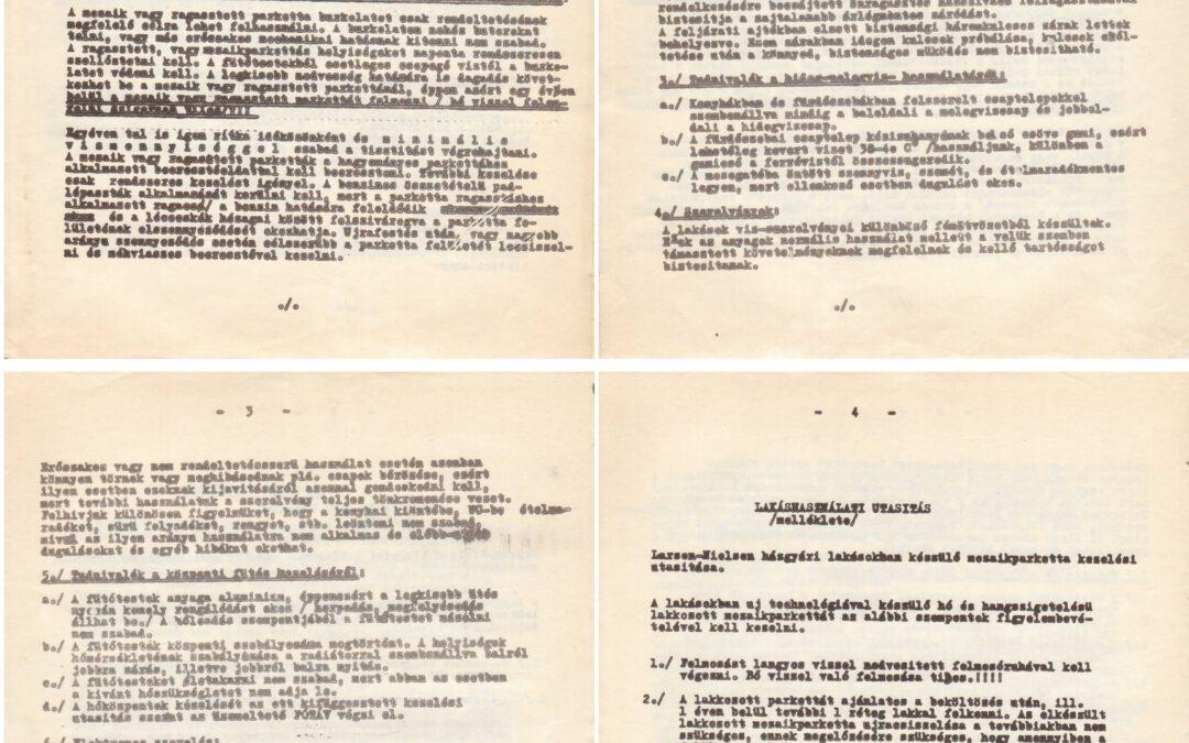 Használati utasítás lakáshoz Larsen-Nielsen típusú blokkban, 1973 (43. sz ÁÉV és OSZV)